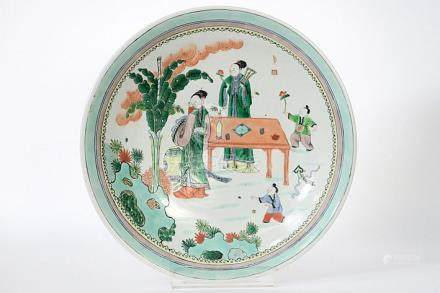 quite big Chinese dish in marked Famille Verte porcelain wit