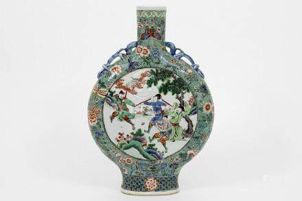 Chinese Famille Verte 'moonflask' vase in porcelain