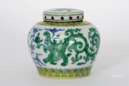 "Chinese lidded ""Tao Tie"" jar in marked porcelain"