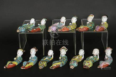 "thirteen 18th/19th Cent. Chinese ""lying figures"" (five coupl"