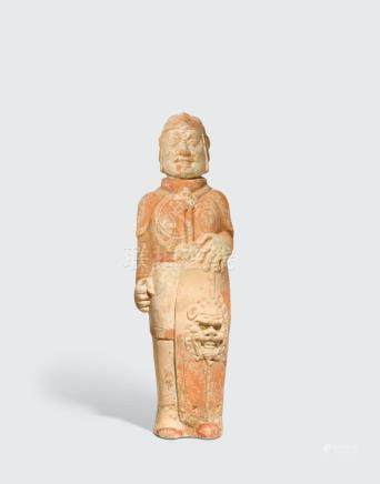A PAINTED POTTERY FIGURE OF A SOLDIER  Northern dynasties, circa 500CE