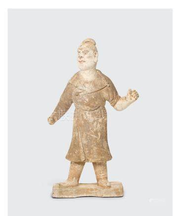 A PAINTED GRAY POTTERY FIGURE OF A FOREIGN GROOM  Tang dynasty