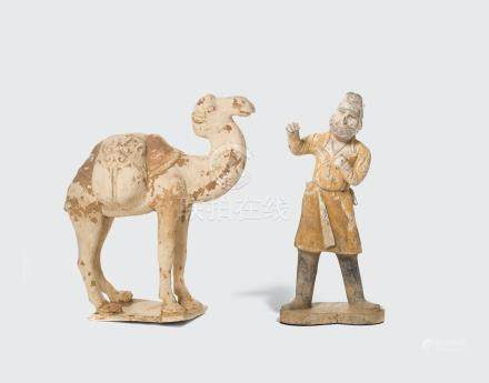TWO PAINTED POTTERY TOMB FIGURES Tang dynasty