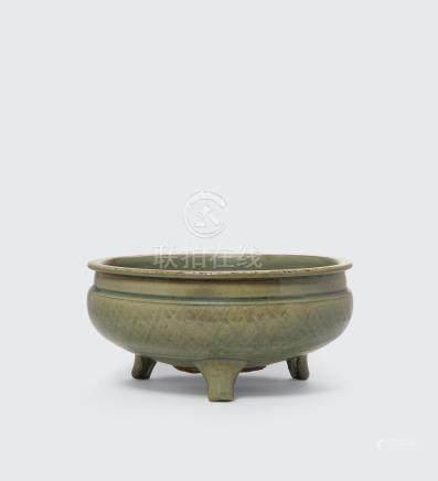 A large Longquan tripod incense burner Ming Dynasty