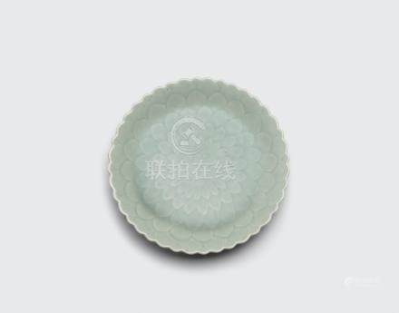 Celadon glazed lotus dish Qianlong six-character mark and of the period