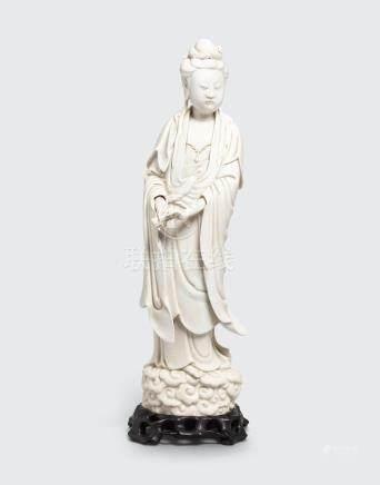 A Dehua standing figure of Guanyin  Bo zhi yu ren mark, 19th century
