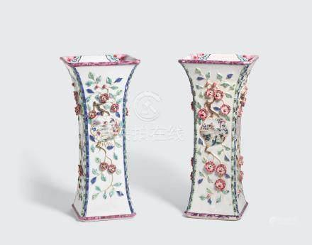 A pair of famille rose export beaker vases Yongzheng