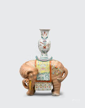 A polychrome enameled elephant  Qianlong mark, late Qing/Republic period