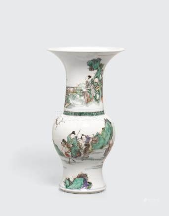 A wucai-decorated phoenix tail vase Kangxi period
