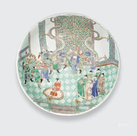 A famille verte enameled charger  Engraved Johanneum Mark N=188,I, Kangxi