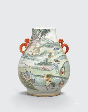 A famille rose hu-form vase depicting Rice Cultivation  Republic period