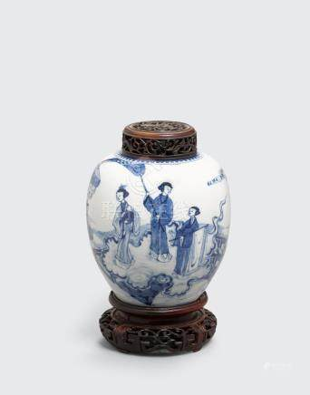 A blue and white ovoid jar Kangxi period