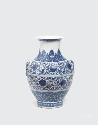 A large blue and white hu-form vase  Qianlong mark, Republic period