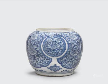 A large blue and white globular jar  Kangxi period