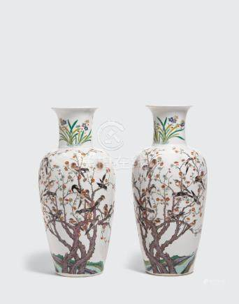 A pair of polychrome and gilt enameled baluster vases Kangxi mark, late Qing/Republic period