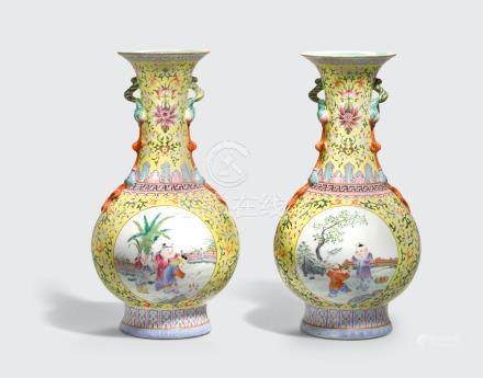 A pair of famille jaune vases with peach branch handles Qianlong marks, Republic period