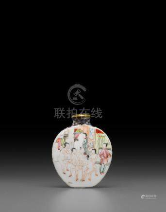 A famille rose enameled 'erotic' snuff bottle  Qianlong mark, late 18th/early 19th century