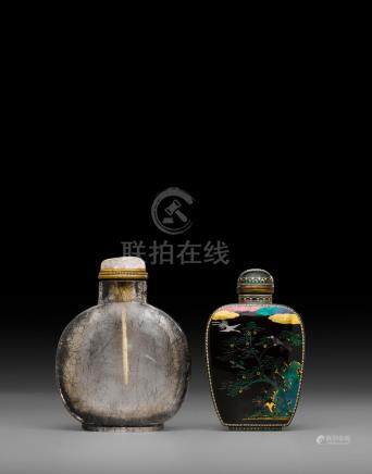 Two snuff bottles 19th/early 20th century, lac burgauté bottle: Japan