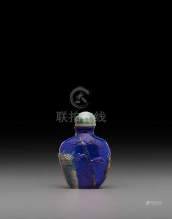 A carved lapis lazuli snuff bottle 19th/early 20th century