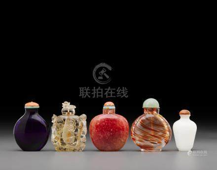 A group of five snuff bottles  19th century and later