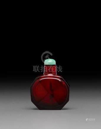 A ruby-red faceted glass snuff bottle Imperial, Beijing Palace Workshops, Qianlong mark, 1736-1795