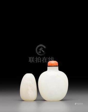 Two white jade snuff botles