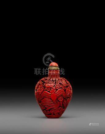 A cinnabar lacquer 'phoenix' snuff bottle  Probably Imperial, 18th/19th century