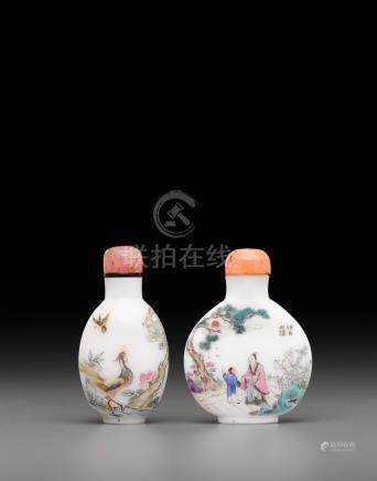 Two enameled white glass snuff bottles Guyue Xuan marks, 19th/early 20th century