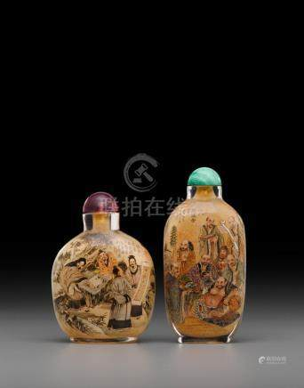 Two inside-painted glass snuff bottles Liu Ziyi, Wang Qian, 1981