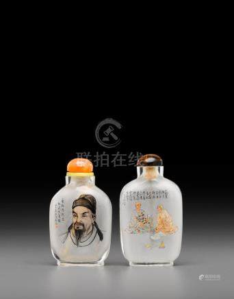 Two inside-painted glass snuff bottles Zhang Guangzhong (b. 1945) and Li Kechang (b. 1942), both dated 1976