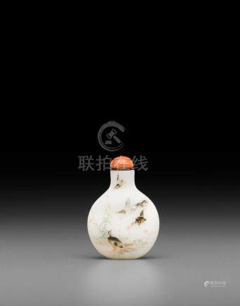 An enameled white glass snuff bottle Qianlong mark, 19th/early 20th century