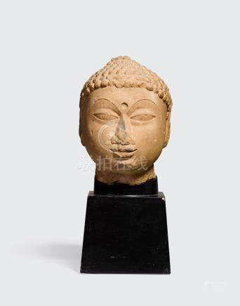 A SANDSTONE HEAD OF A JINA   Rajasthan, 10th/11th century