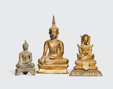A GROUP OF THREE COPPER ALLOY FIGURES OF BUDDHA Thailand, 17th-20th century