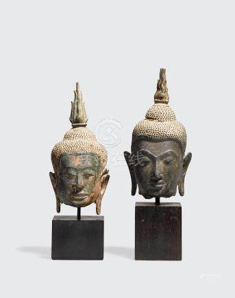 TWO COPPER ALLOY HEADS OF BUDDHA Thailand, early Ayutthaya period, circa 14th century