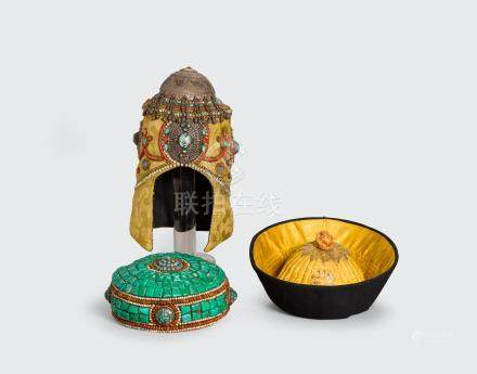 A group of three Himalayan head coverings with applied decoration