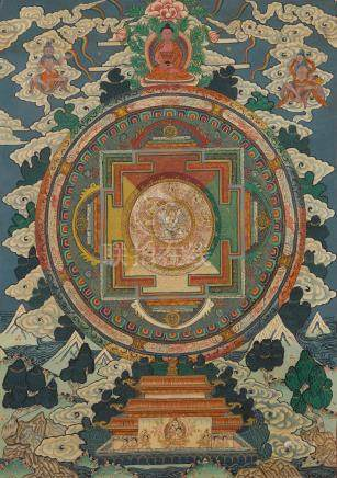 A Nepalese Painted Mandala and a Japanese printed Mandara