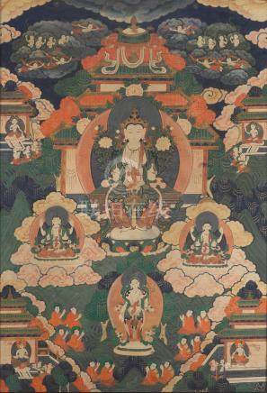 A thangka of maitreya in Tushita heaven Tibet, before 1949
