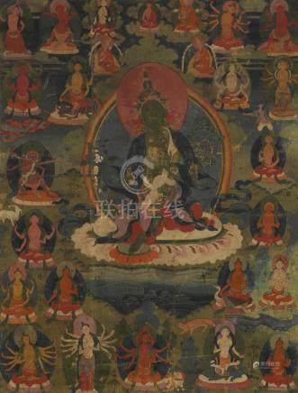A thangka of Green Tara  Tibet, 19th/20th century