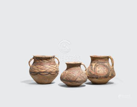 A group of three painted pottery jars Neolithic period, Majiayao culture, third millennium BCE