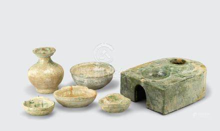 A group of six green glazed pottery decorations Han dynasty