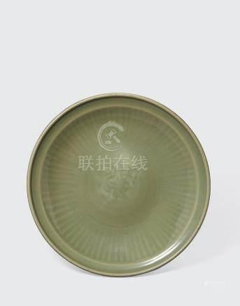 A large longquan celadon dish  Ming dynasty