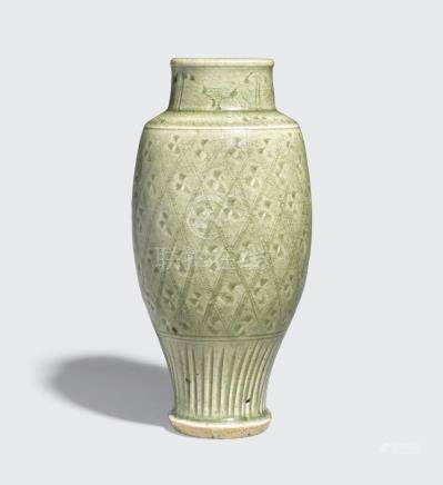 A Longquan celadon vase with incised decoration Ming dynasty