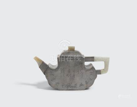 A pewter and jade teapot Late Qing/Republic period