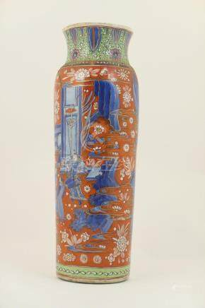 Chinese clobbered transitional vase, cylinder form with wide slightly flared neck,