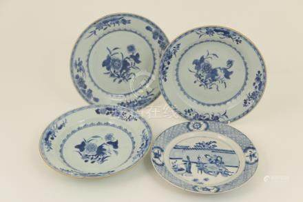 Chinese blue and white plate, decorated with Bijin within a walled garden, within a diaper border,