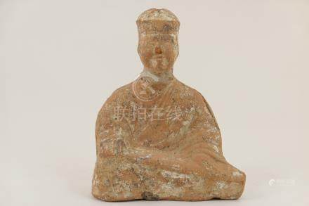 Chinese terracotta figure of a seated musician, possibly Tang Dynasty (extensively repaired),
