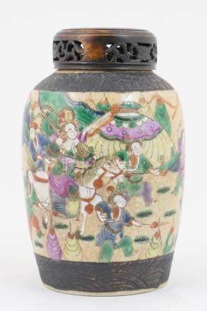 Chinese crackle glazed ovoid vase, late 19th Century,