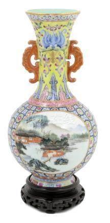 Chinese landscape vase, 20th Century,