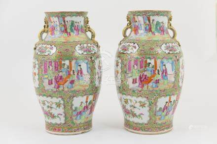 Pair of Cantonese famille rose vases, mid 19th Century,
