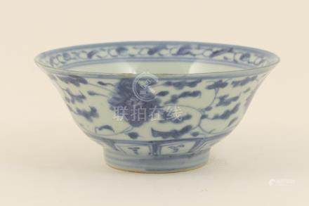Chinese provincial blue and white bowl, 19th Century, flared form decorated with scrolling foliage,